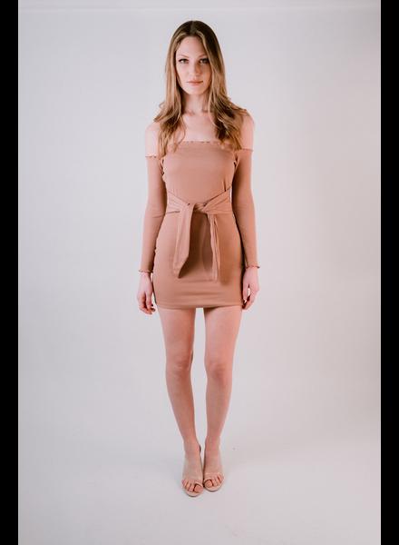 Mini OTS Tie Waist Mini Dress