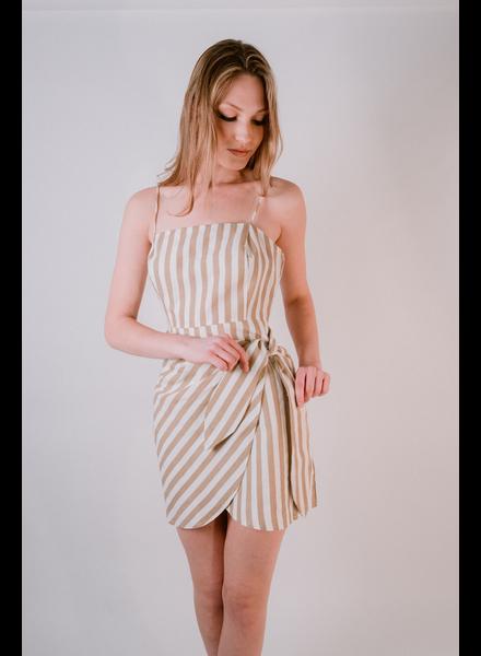 Mini Sand Wrap Striped Dress
