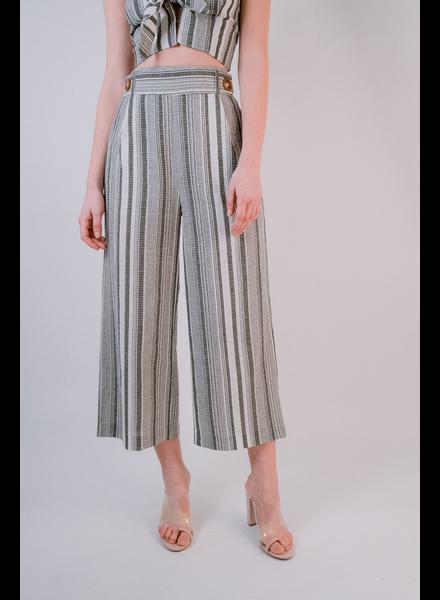 Pants Striped Double Button Pants