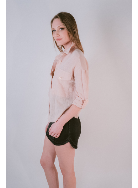Blouse Blush Frayed Hem Blouse