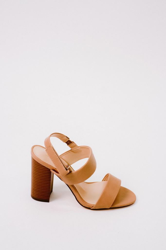 Sandal Taupe Sling Back Block Heel