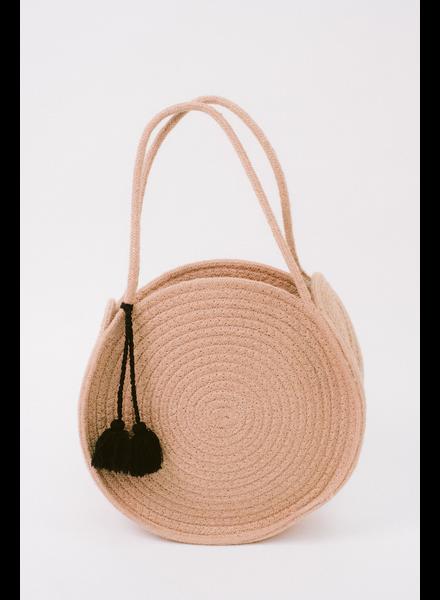 Handbag Beige Woven Circle Bag