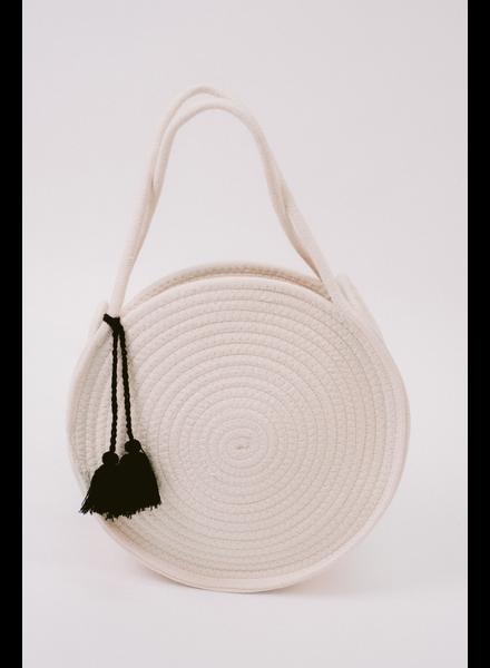 Handbag Ivory Woven Circle Bag