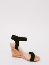 Wedge Black Strap Cork Wedge