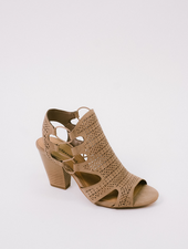 Sandal Laser Cut Block Heel