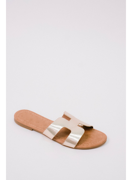 Sandal Gold Cut-Out Slide