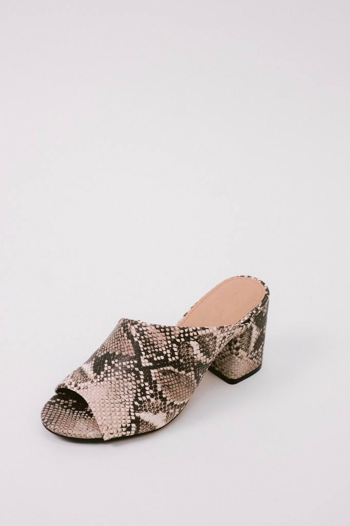 59886cd6e3bf Snake Print Mule - Bobbles and Lace