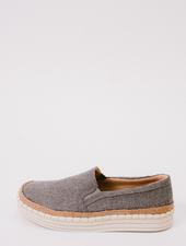 Flat Linen Platform Slip-On