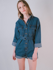 Casual Denim  3/4 Sleeve Romper