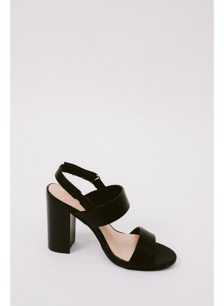 Sandal Black Sling Back Block Heel