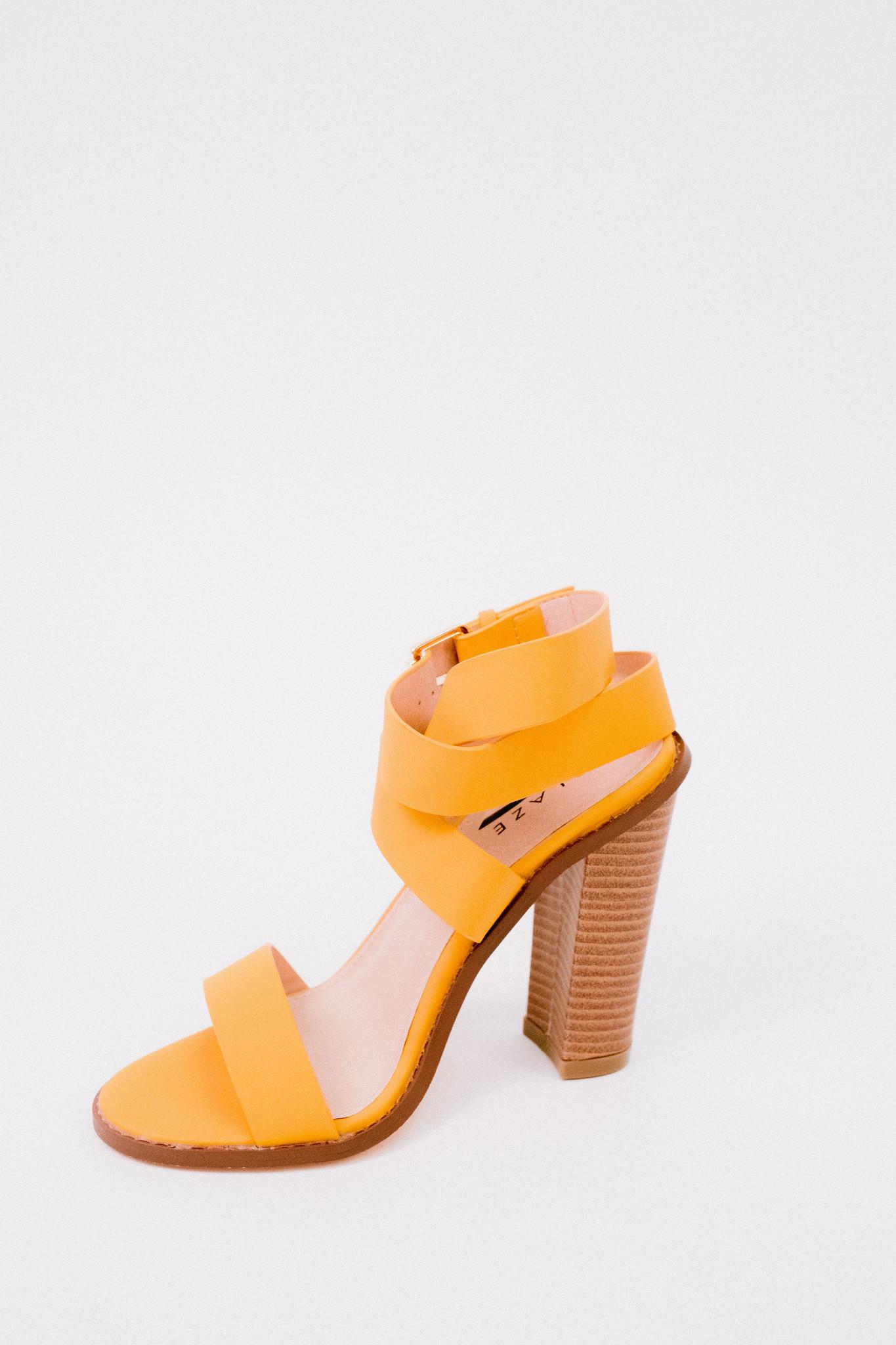Pump Mustard Ankle Wrap Heel