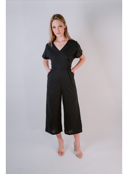Casual Black Linen Culotte Jumpsuit