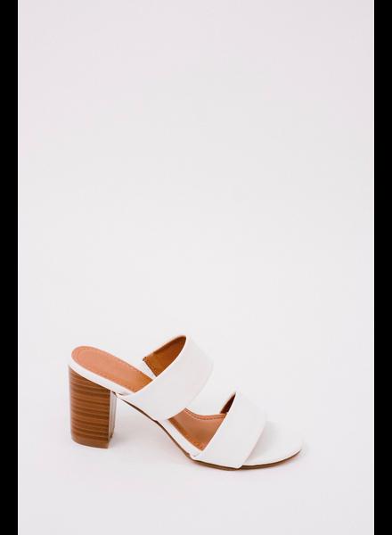 Sandal White Block Heel Slide