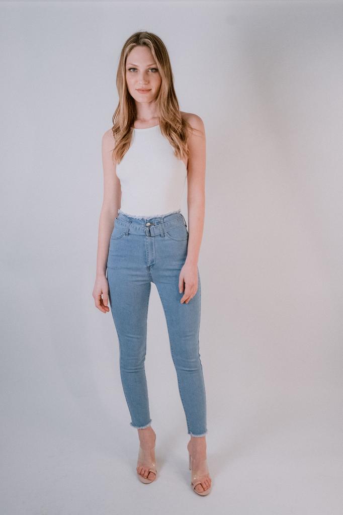 Jeans Raw Hem Belted Jeans