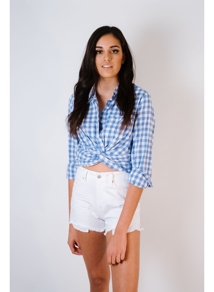 Blouse Checkered Twist Front Top