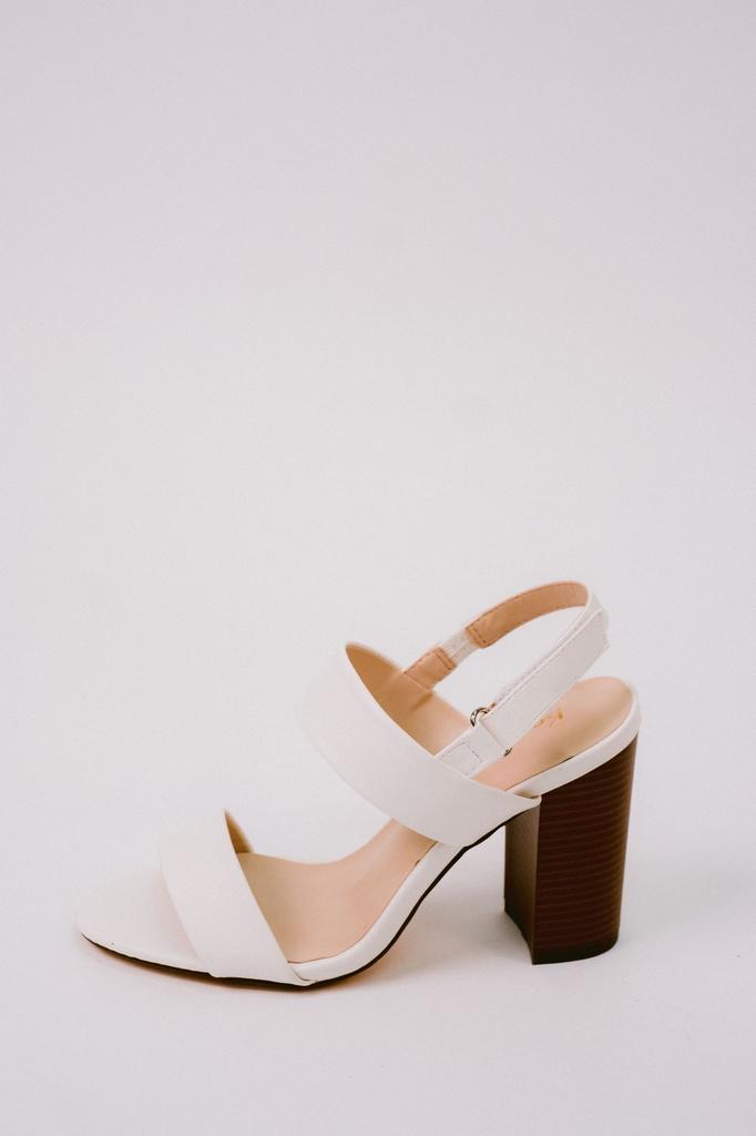 Sandal White Sling Back Block Heel