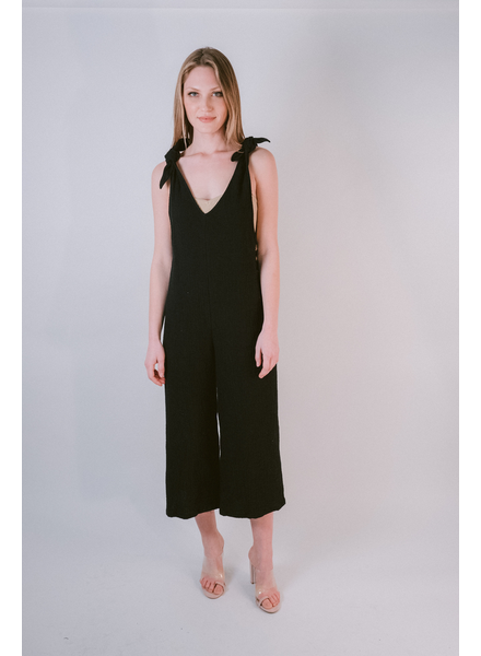 Casual Black Tie Shoulder Overalls