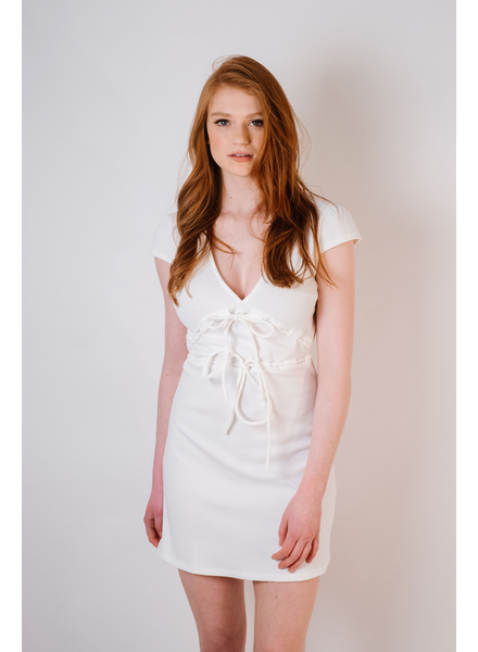 Mini Sweet White Knit Dress