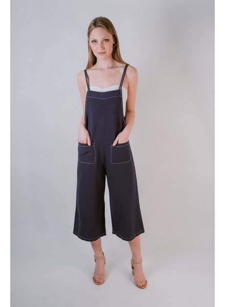 Casual White Tipped Navy Overalls