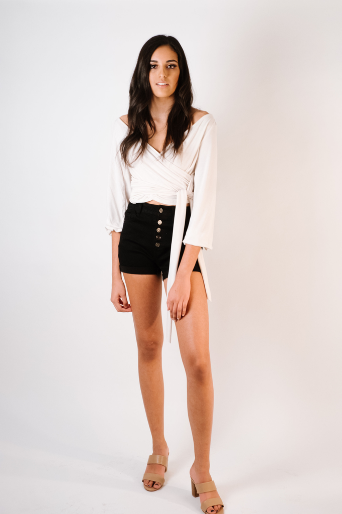 Shorts Black Button Fly Shorts