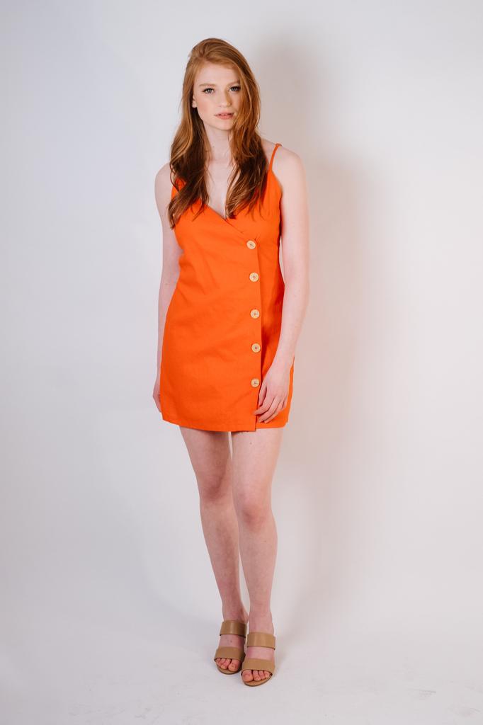 Mini Tomato Button Down Dress