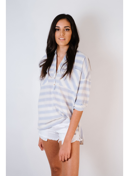 Blouse Summer Striped Oxford