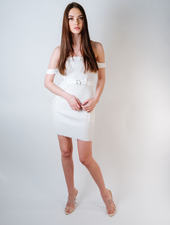 Mini White Ribbed Cargo Dress