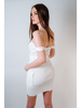 Mini White Ribbed Cargo Dress