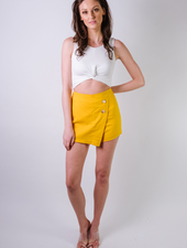 Skirt Yellow Button Overrlap Skort