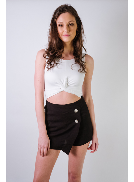 Skirt Black Button Overrlap Skort