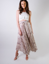 Skirt Pleated Snake Print Maxi