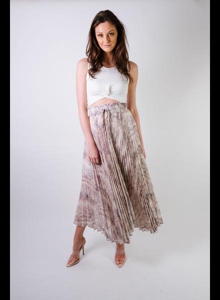 Skirt Pleated Snake Print Maxi