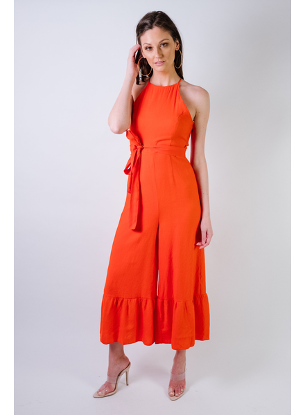 Dressy Tomato Flare Jumpsuit