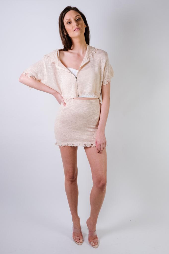 Skirt Blush Fray Bottom Mini