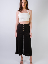 Pants Linen Button Culottes