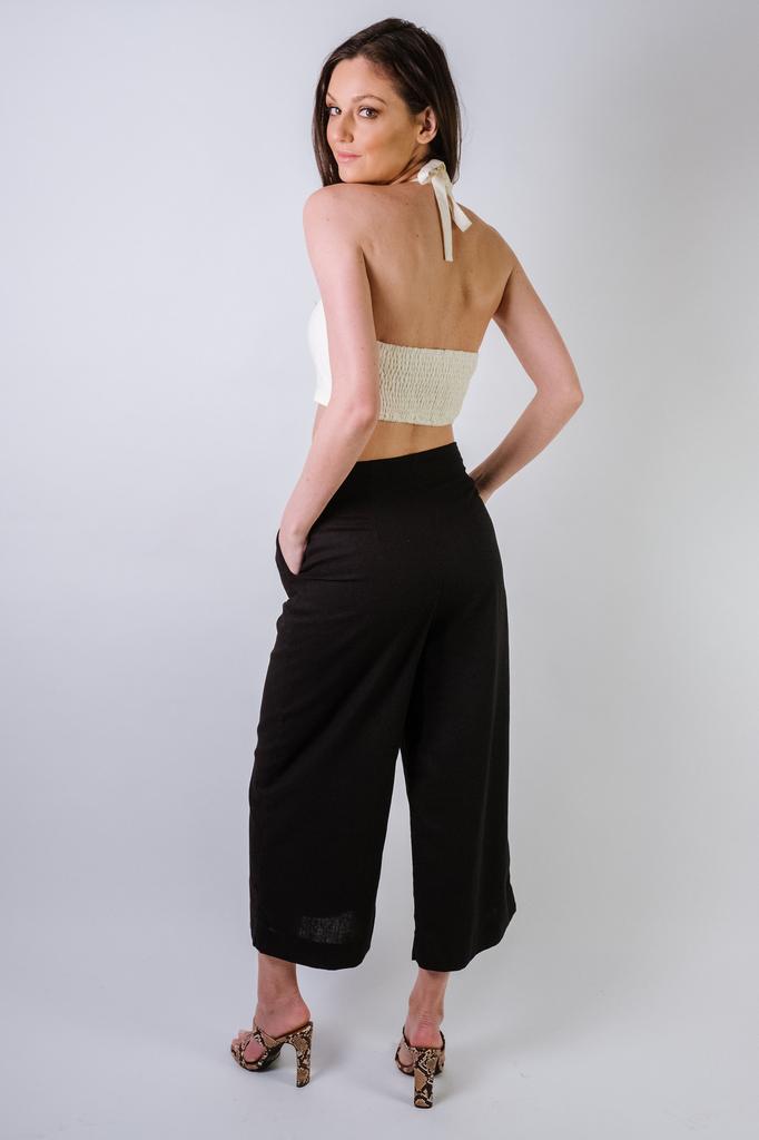 Pants Linen Button Culottes