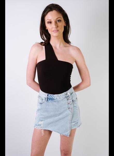Bodysuit Black Single Strap Bodysuit