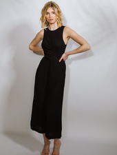Casual Black Rayon Wrap Jumpsuit