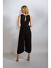 Casual Black Rayon Wrap Jumpsuit