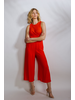 Casual Red Rayon Wrap Jumpsuit