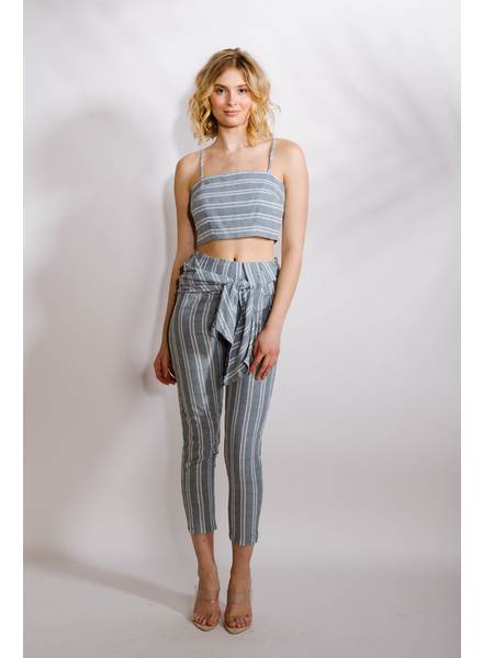 Crop Striped Linen Top