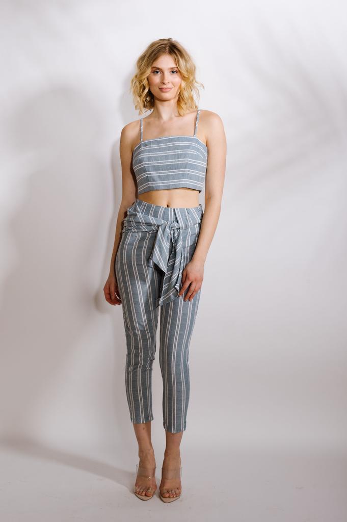 Crop Striped Linen Top