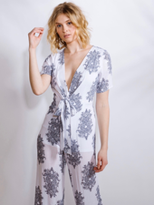 Dressy Deep V Damask Jumpsuit