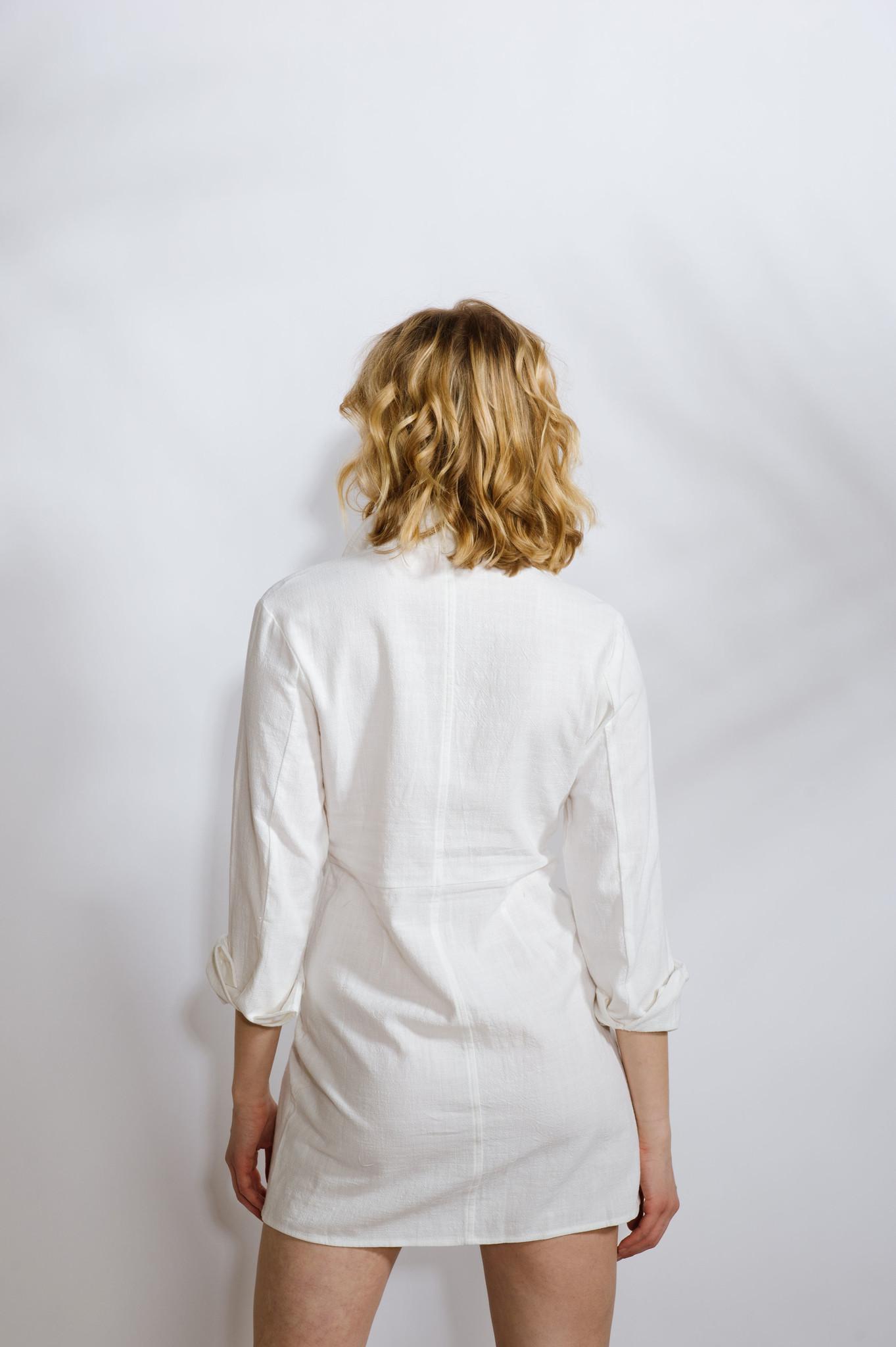 Mini Twist Front Oxford Dress