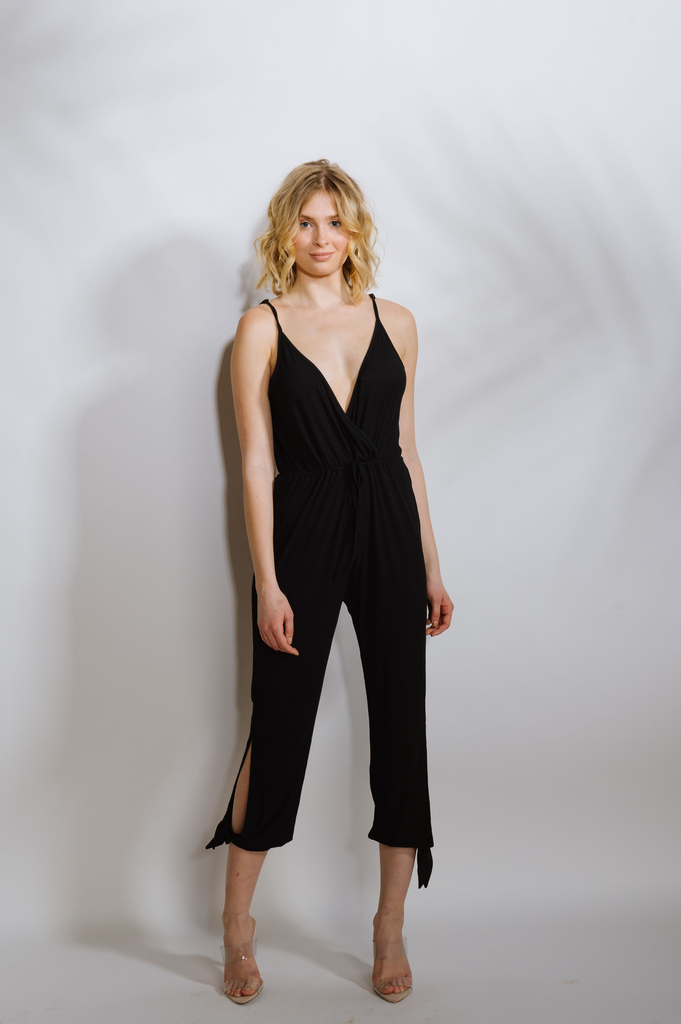Casual Jersey Ribbed Wrap Jumpsuit