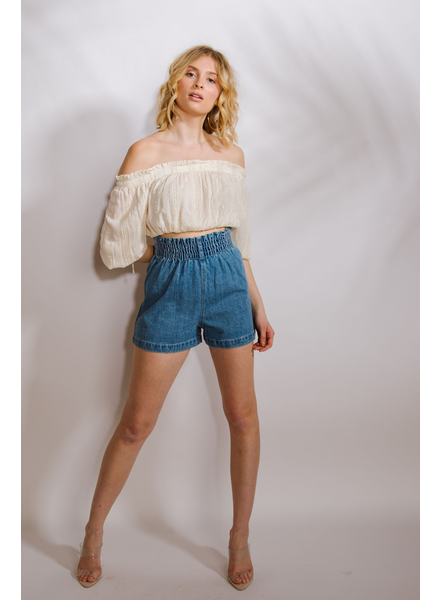 Shorts Denim Smocked Waist Shorts