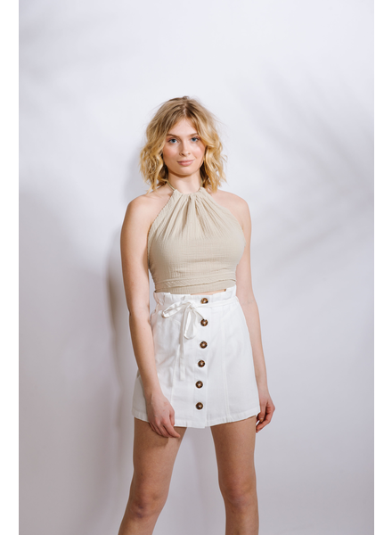 Skirt White Button Mini