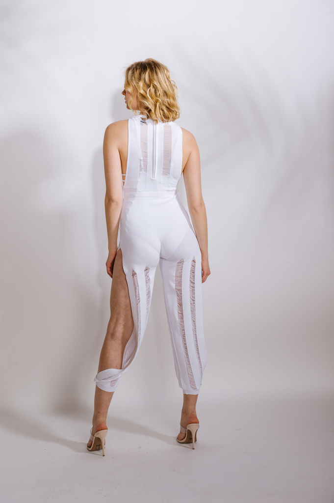 Casual White Shredded Jumpsuit
