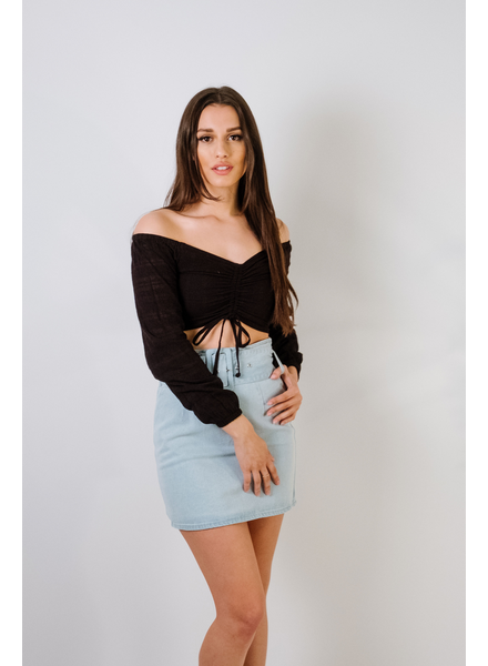 Crop OTS Rouched Black Crop