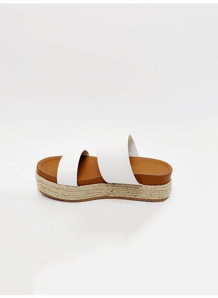 Sandal White Jute Platform Slide